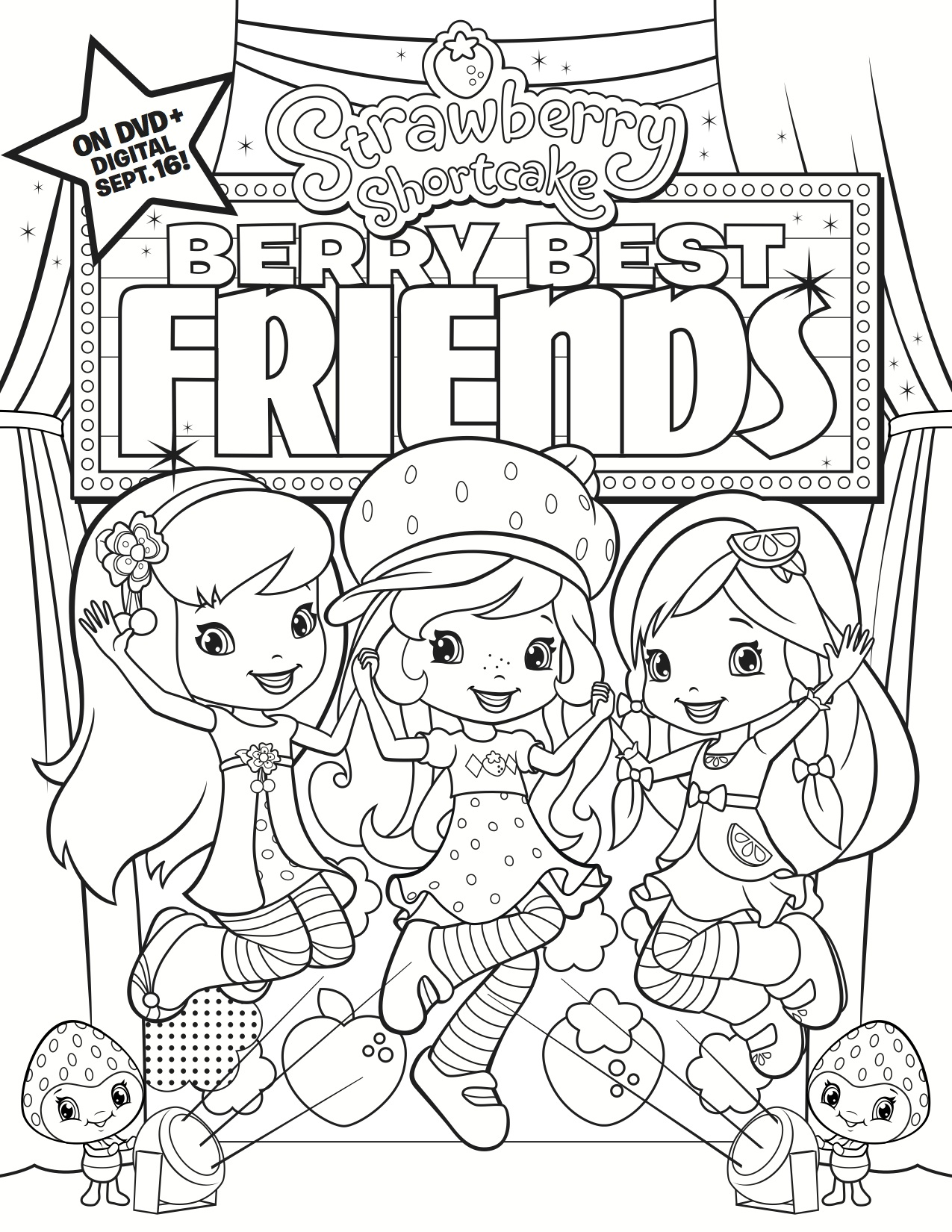 12 Strawberry Shortcake Birthday Party Printable Coloring Pages ... | 1650x1275