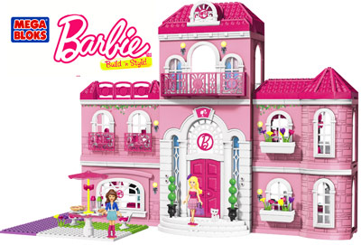Design A Dream House Come True With The Mega Bloks Barbie Build N Style Luxury Mansion Decorate Eight Interchangeable Rooms That Can Be Built Any Way